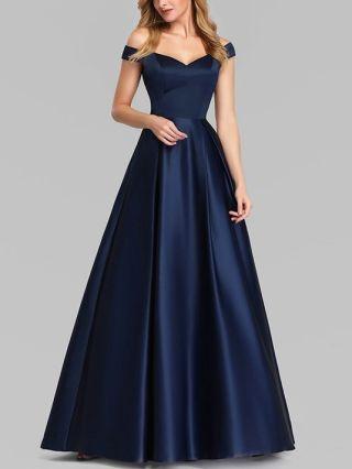 Bridesmaid Dress Navy Dress Off the Shoulder Sleeveless Open Back Satin Maxi Evening Prom Tutu Dresses