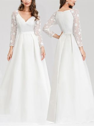 Bridesmaid Dress White Dress Lace See-through Long Sleeve V-Neck Satin Maxi Evening Prom Dresses