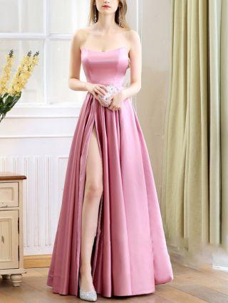 Bridesmaid Dress Rose Pink Dress Tube Top Open Back Satin Maxi Split Evening Prom Dresses