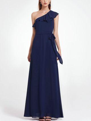 Bridesmaid Dress Navy Dress One Shoulder Irregular Ruffled Belted Chiffon Maxi Evening Prom Dresses