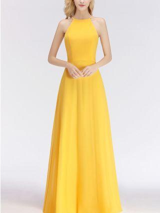 Bridesmaid Dress Yellow Dress Halter Sleeveless Chiffon Maxi Evening Prom Dresses