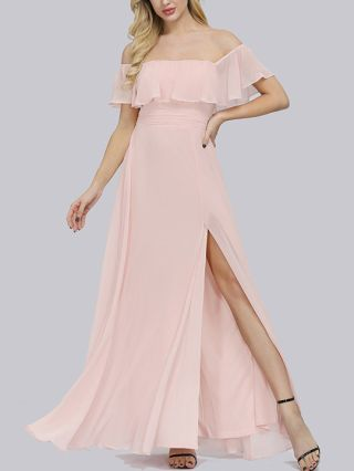 Bridesmaid Dress Pink Dress Black Dress Off the Shoulder Ruffled Open Back Chiffon Maxi Split Evening Prom Dresses