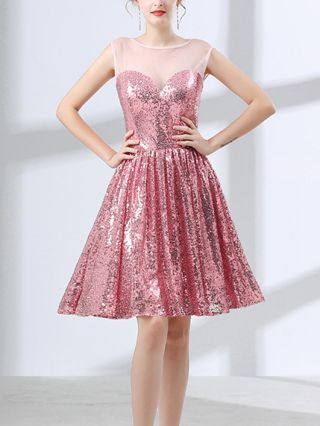 Homecoming Dress Pink Dress Sequins Gauze See-through Sleeveless Tube Top Open Back Short Party Evening Dresses