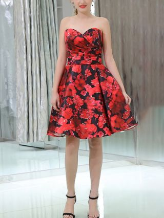 Homecoming Dress Red Dress Tube Top Floral Printed Open Back Draped Short Banquet Party Evening Dresses
