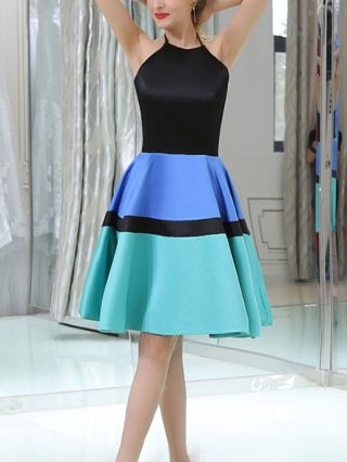 Homecoming Dress Multicolor Dress Halter Sleeveless Open Back Stitching Color Short Party Evening Dresses