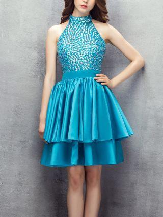 Bridesmaid Dress Blue Dress Halter Sleeveless Rhinestone Satin Double Layered Homecoming Dress Short Party Evening Dresses