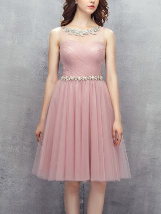 Bridesmaid Dress Pale Mauve Dress Tube Top Sleeveless Gauze See-through Rhinestone Homecoming Dress Short Party Evening Dresses