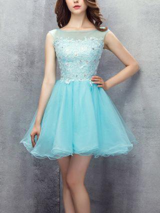 Bridesmaid Dress Blue Green Dress Sleeveless Round Neck Lace Beading Rhinestone Homecoming Dress Gauze Short Banquet Evening Dresses