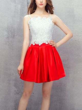 Bridesmaid Dress White Red Dress Lace Rhinestone Satin Stitching Homecoming Dress Straps Open Back Short Party Evening Dresses