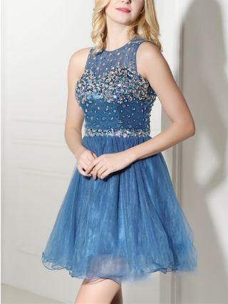 Bridesmaid Dress Blue Dress Sleeveless Round Neck Rhinestone Sequins Gauze Homecoming Dress Short Party Evening Dresses