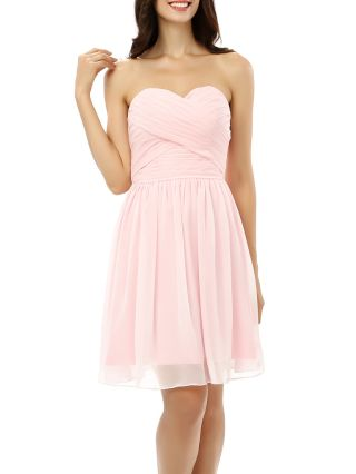 Bridesmaid Dress Pink Dress Tube Top Open Back Lace-up Homecoming Dress Chiffon Short Party Evening Dresses