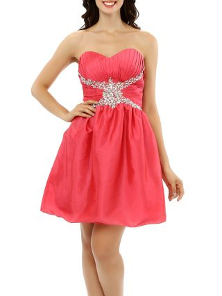 Bridesmaid Dress Red Dress Tube Top Pleated Rhinestone Homecoming Dress Short Party Evening Dresses