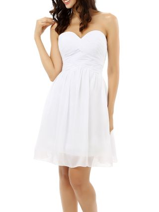 Bridesmaid Dress White Dress Tube Top Chiffon Solid Color Homecoming Dress Short Party Evening Dresses