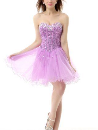 Bridesmaid Dress Violet Dress Rhinestone Beading Homecoming Dress Open Back Lace-up Gauze Short Party Evening Dresses