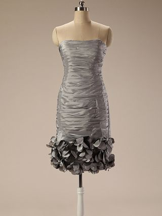 Two Piece Dress Grey Dress Tube Top Pleated Ruffled Bodycon Homecoming Dress Short Party Evening Dresses