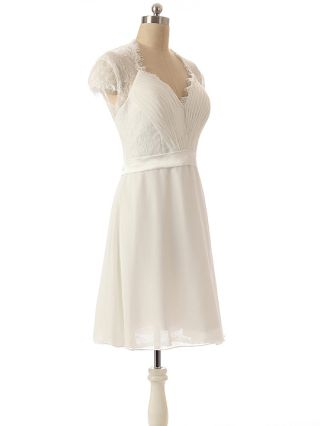 Bridesmaid Dress White Dress Lace Chiffon V-Neck Back See-through Homecoming Dress Single Breasted Short Party Evening Dresses