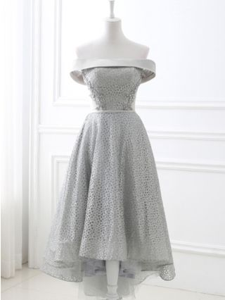 Bridesmaid Dress Grey Dress Off the Shoulder Sleeveless Open Back Rhinestone Sequin See-through Homecoming Dress High-low Evening Long Dresses
