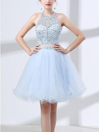 Bridesmaid Dress Light Blue Dress Halter Rhinestone Beading Two Piece Homecoming Dress Gauze Short Party Evening Dresses