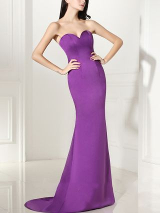 Cocktail Dress Purple Dress Tube Top Solid Color Tube Top Open Back Satin Floor Length Evening Prom Dresses