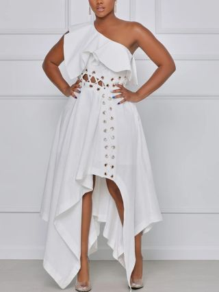 Plus Size White Dress One Shoulder Ruffled Lace-up Hollow Irregular Maxi Party Evening Dresses