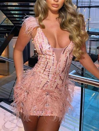 Pink Dress Sleeveless V-Neck Feathers Sequins Mini Evening Party Club Dress