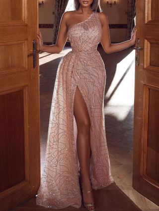 One Shoulder Sleeveless Tube Top Sequins Maxi Split Bodycon Party Club Evening Dress