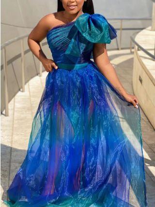 Plus Size Dress Blue Dress One Shoulder Sleeveless Big Bowknot Gauze See-through Floor Length Evening Prom Dresses