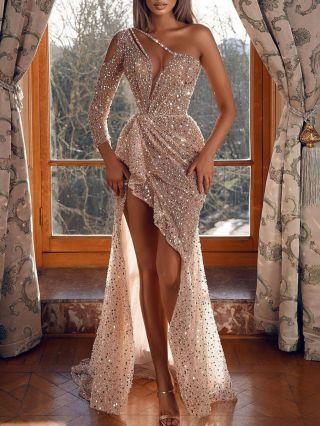 Wedding Guest Dress Gold Dress One Shoulder Irregular Long Sleeve Cut Out Maxi Split Bodycon Party Evening Dresses