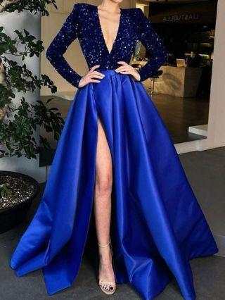 Wedding Guest Dress Black Dress Deep V-Neck Long Sleeve Sequins Maxi Split Party Banquet Evening Dresses