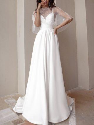 Bridesmaid Dress White Dress Beading Cape Slip V-Neck Open Back Maxi Party Evening Prom Dresses