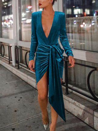 Wedding Guest Dress Blue Dress Long Sleeve Deep V-Neck Irregular Belted Short Banquet Party Evening Dresses
