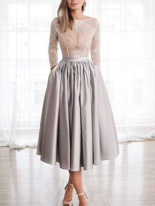Wedding Guest Dress Grey Dress White Dress Lace See-through Long Sleeve Pockets Long Swing Party Evening Dresses