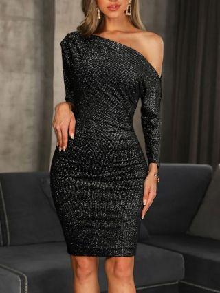 Black Dress One Shoulder Long Sleeve Sequin Short Bodycon Party Club Evening Dresses