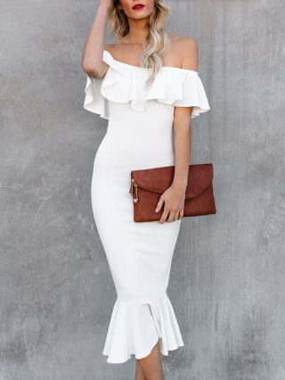Wedding Guest Dress Black White Dress Off the Shoulder Ruffled Bodycon Mermaid Party Evening Long Dresses