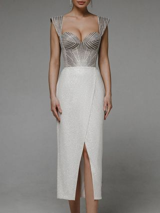 White Dress Grey Dress Straps Tube Top Open Back Lace-up Stitching Bodycon Split Party Evening Long Dresses