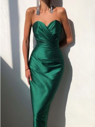Wedding Guest Dress Green Dress Tube Top Solid Color Bodycon Maxi Party Evening Dresses