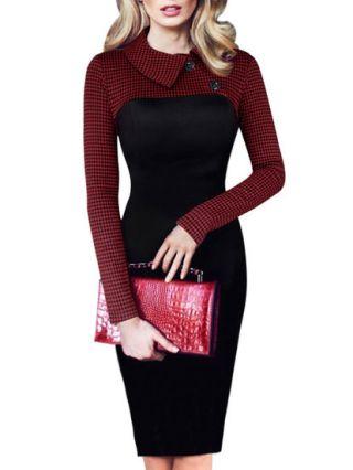 2020 Autumn Peter Pan Collar Long Sleeve Houndstooth Stitching Black Professional Midi Pencil Dress Plus Size