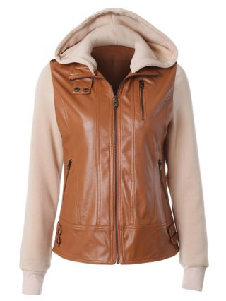 2020 Autumn/Winter Casual Hooded Jacket Brown Stitching Long Sleeve Leather Jacket with Detachable Hat
