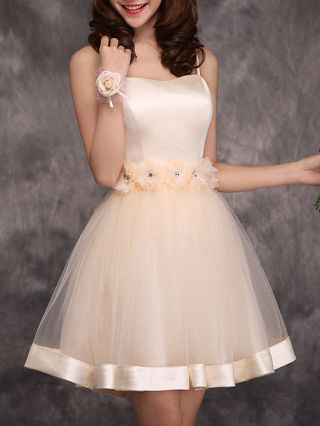 Fashion Homecoming Dress Champagne Flowers Gauze Princess Straps Bridesmaid Mini Dress