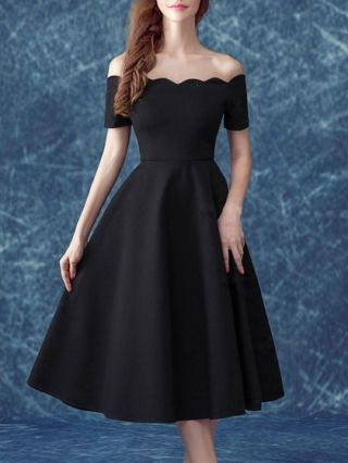 Homecoming Dress Fashion Short Sleeve Cotton Off Shoulder Midi A-line Party Gown Dress Plus Size