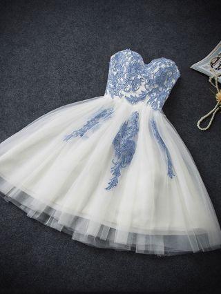 Mini Short Homecoming Gown Dress Blue Flowers Embroidery Tutu Tube Bridesmaid Bandage Dress