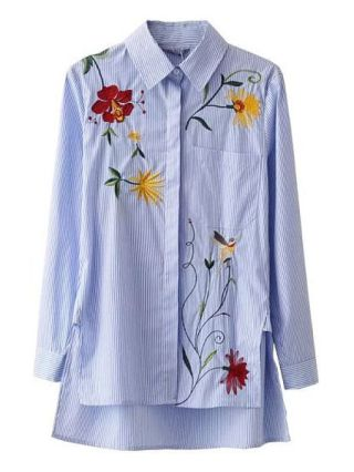 Blue Women's Shirt Lapel Striped Flowers Embroidered Long Sleeve Clothing Long in Back Short in Front