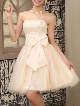 Tube Homecoming Dress Lace Stitching Gauze Chiffon Bowknot Mini Bridesmaid Dress