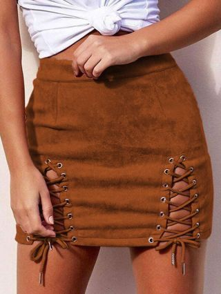 2020 Fall/Winter Suede Lace-up Short Bodycon Skirt