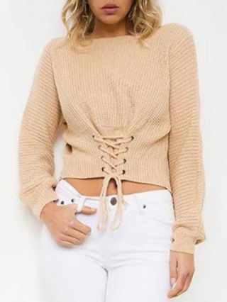 Fall/Winter Waist Lace-up Long Sleeves Cropped Sweater for Women