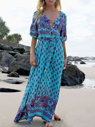Summer Long Bohemian Dress Flowers Printed V-neck Single-breasted Maxi Split Swing Dress Plus Size