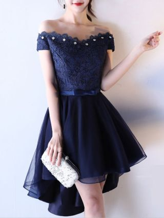 Summer Plus Size Evening Gown Dress Off The Shoulder Elegant Diamond Lace Stitching Gauze Short High-low Homecoming Dress