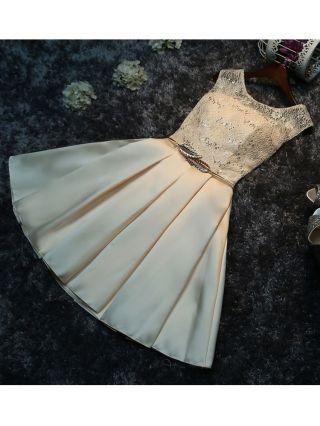 Summer Short Homecoming Dress Lace Stitching Satin Wedding Gown Bridesmaid Dress