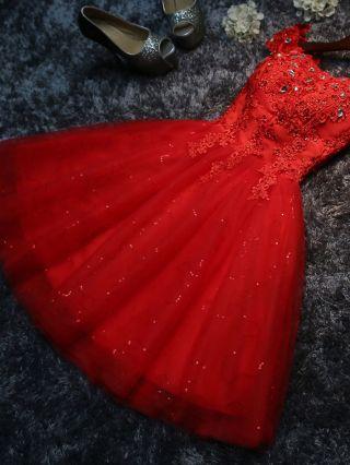 Summer Short Homecoming Dress Off The Shoulder Lace Stitching Gauze Beading Bridesmaid Wedding Dress