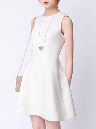 Summer White Gradutaion Dresses Sleeveless High-waisted A-line Midi Cocktail Dress